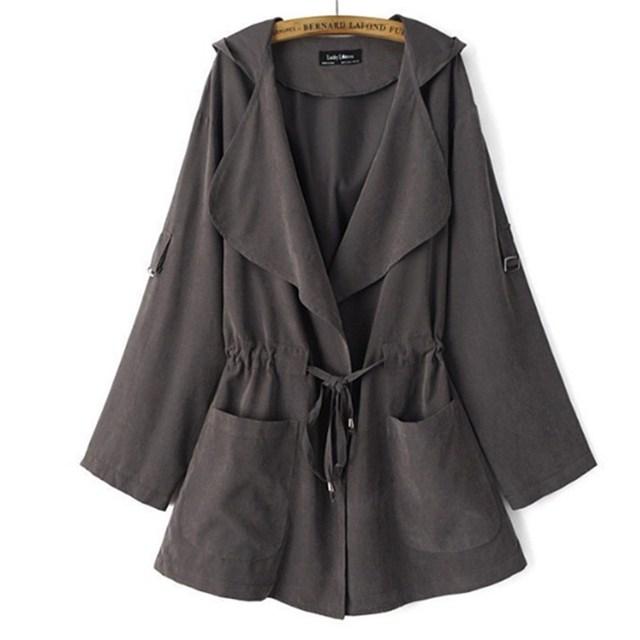 NDUCJSI Windbreaker Outwear Women Coat Autumn Long Sleeve Loose Jacket Casual Elastic Waist Pocket Female Jackets Hooded Coat