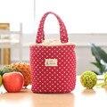 Partten Térmica Duplas Lunch Bag Dots Cordão Tote Caixa Bento Almoço Portátil Saco Térmico Bolsa Bolsa Nevera Portatil #9128