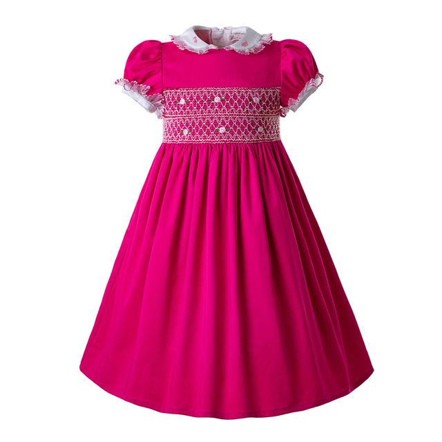 8d49ebc14a18e Pettigirl Hot Pink Doll Collar girls Smocked Christmas Newborn Smocked Dress  Baby Smocked Outfits Kids Clothing G-DMGD109-C95