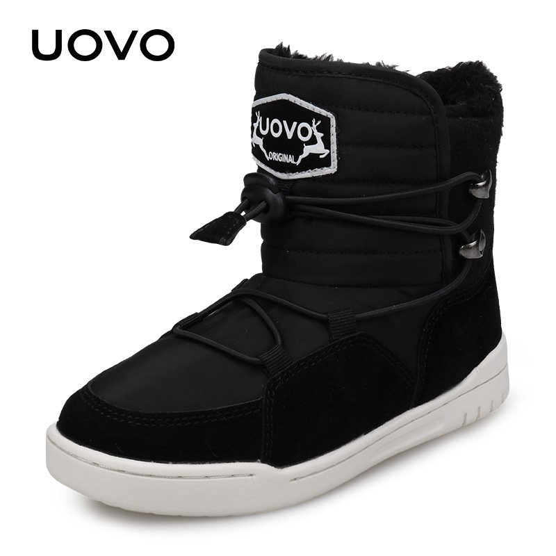 Uovo 2018 New Winter Boots Kids For Boys And Girls Snow Boots Fashion Warm With Plush Children Flat Shoes Size 29-37# Black Red hot sale uovo 2018 new arrival winter kids boots warm fashion girl shoes plush non slip snow boots for girls size 27 37