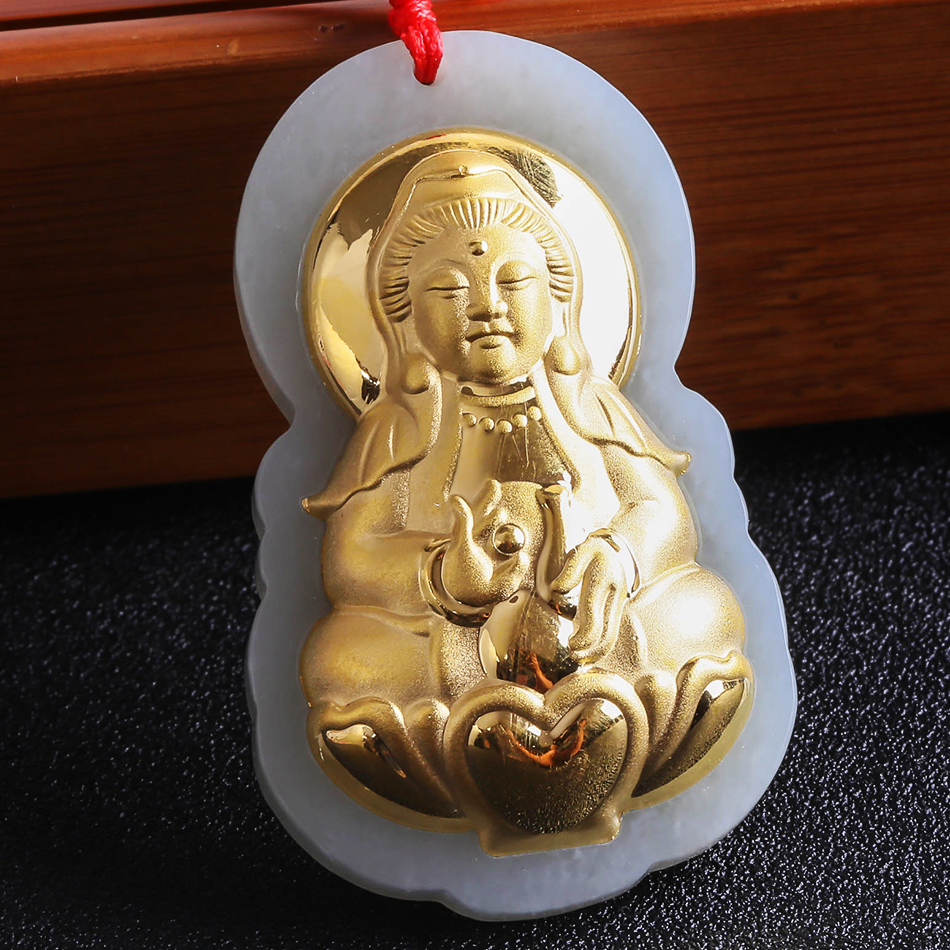 цена Gold Medallion Pendant Jade Buddha Pendant Hetian Jade Zodiac Eight Guardian Goddess Necklace Guanyin Chinese Style 8629 Gift