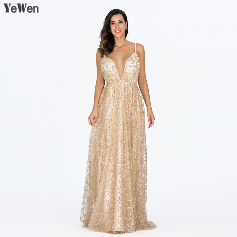 2019 Sexy Deep V-Neck Backless   Evening     Dresses   Sequined Tulle Long Robe De Soiree Gold Spaghetti Strap Party Gowns Real Pictures