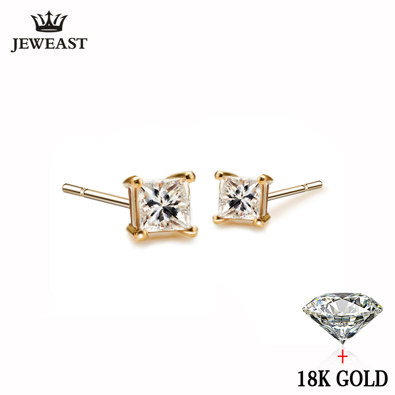 18k Pure Gold White Yellow Natural Stud Earrings Classic Elegant Simple Noble Wedding Jewelry Gift Hot Sale 2017 New