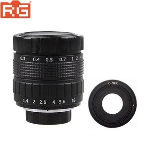 Image 1 - Фуцзянь 50 мм F1.4 CCTV TV Movie lens + C NEX Mount для SONY E Mount NEX3 NEX6 NEX7 A6500 A6300 A6000 A5000