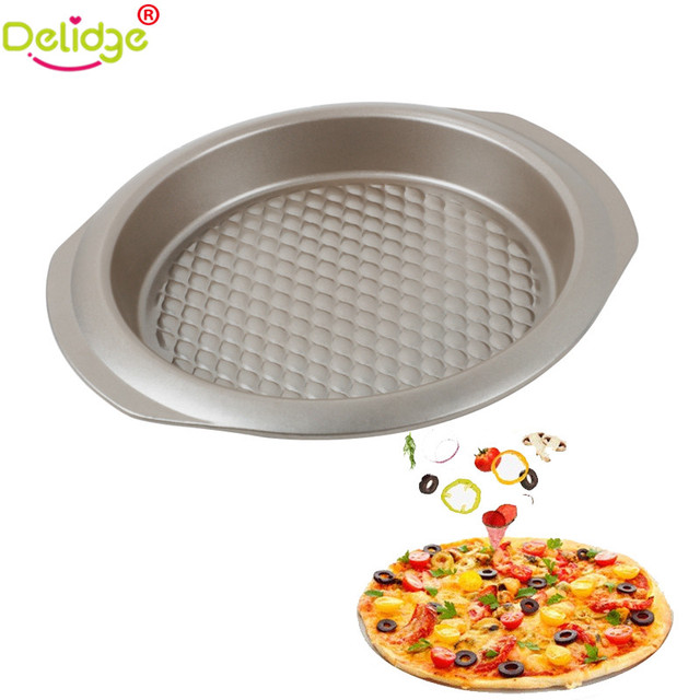 Delidge 1 Pc Round Shape Pizza Baking Pan Metal Non Stick Insert Microwave Oven Cake
