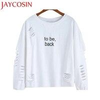 Jaycosin Kadınlar Kazak Mektuplar Baskılı Yuvarlak Boyun Hedging Pamuk O-Boyun beyaz Bluz Sml XL Hediye Jan 25 Damla gemi