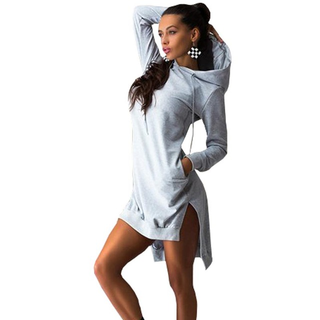 56d672dbd2dbc Winter Autumn Women Dress Vintage Elegant Sport Dresses Sexy Long Sleeve  Pockets Black Gary Casual Womens Clothing Plus Size