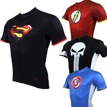 Бэтмен Человек-паук Супермен супергерой Велоспорт Джерси с коротким рукавом Ropa Ciclismo Hombre велосипедная одежда мужская быстросохнущая