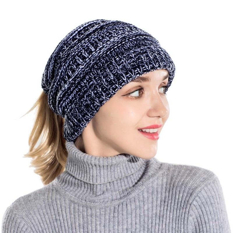 Fashion Women's Girls Stretch Knitted Wool Crochet Hats Caps Messy Bun Ponytail   Beanie   Holey Warm Hat Winter Warm Cap   Beanies