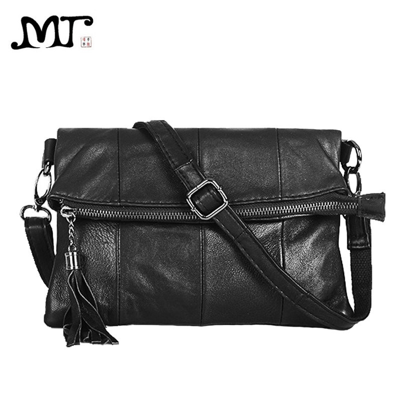 MJ Genuine Leather Women Messenger Bag Solid Patchwork Sheepskin Leather Shoulder Bags Women Crossbody Handbag Day Clutch Bag women day clutch genuine leather envelope bag banquet women handbag vintage cowlayer messenger bag
