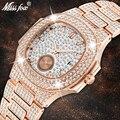 Уникальные мужские часы от роскошного бренда Patek, модные мужские часы из розового золота, кварцевые часы с хронографом, алмазная сталь, Iced Out ...