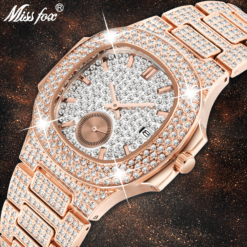 Unique Watch Men Luxury Brand Patek Trending Mens Fashion Rose Gold Watch Quartz Clock Chronograph Diamond Steel Iced Out Watch
