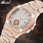 Unique Watch Men Luxury Brand Patek Trending Mens Fashion Rose Gold Watch Quartz Clock Chronograph Diamond Steel Iced Out Watch