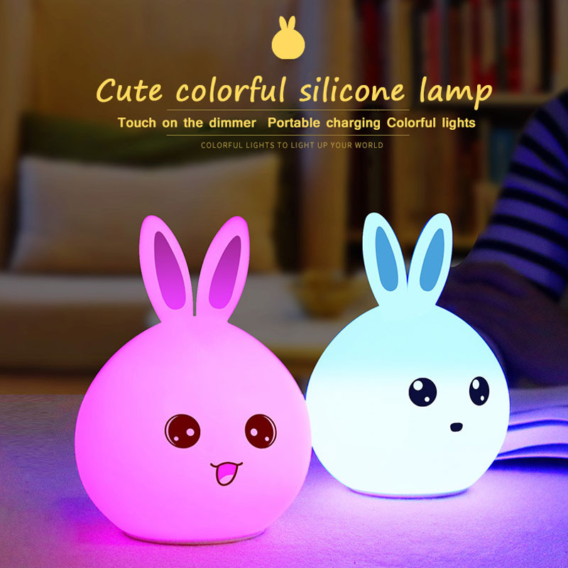 LED Night Lights Rabbit Night Light Multicolor Silicone Touch Sensor Tap Control Nightlight For Kids Children Baby Bedside