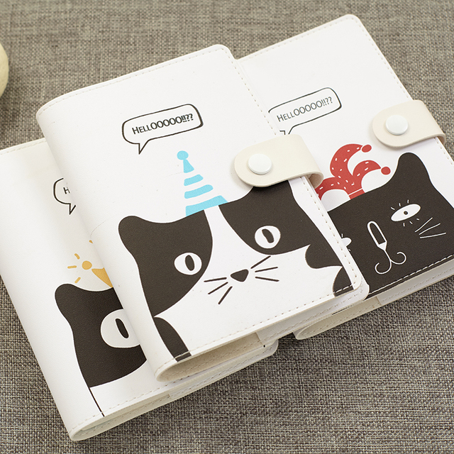 Japanese Cat Flower Pu Cover Planner Notebook Kawaii Diary