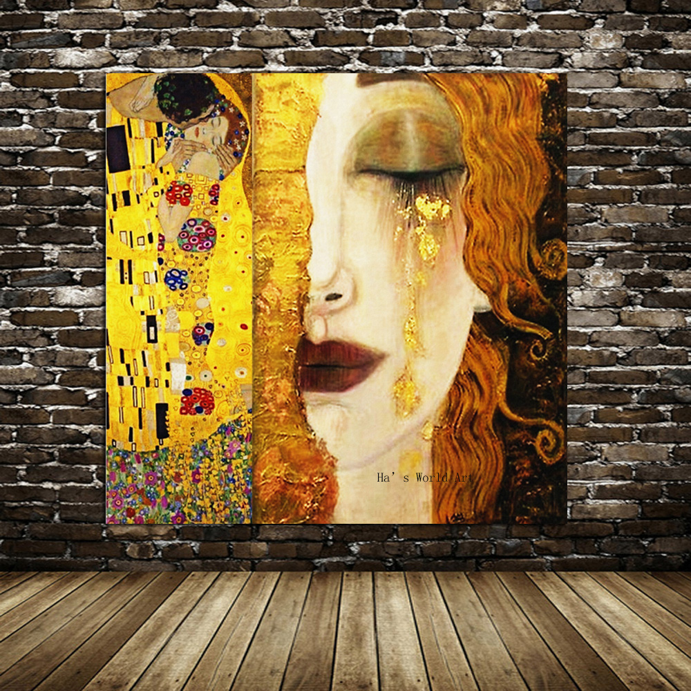 High quality Oil painting Canvas Reproductions Golden Tears by Gustav Klimt Painting for Bedroom hand painted