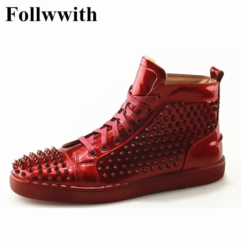 Flats Marca Luxo as Pic Up Follwwith Da Zapatillas Leather Patent Rebites Top Quente Sapatos Casuais Sneakers Studs Homens Formadores As Pic Lace Vermelho De High tPgRXq