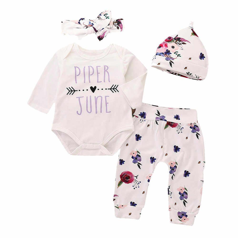 0f344f108308 ensemble fille Arrow 4 Pieces Infant Baby Girls Boys Letter Print Romper  Jumpsuit Animal Pants Outfits