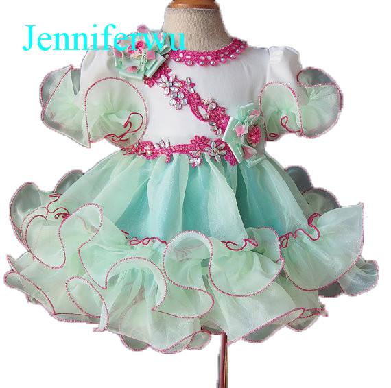 mint green  knee length baby formal clothes little  girl pageant dress  baby girl  party dress 1T-6T G082-1 ebtb pluto mint green