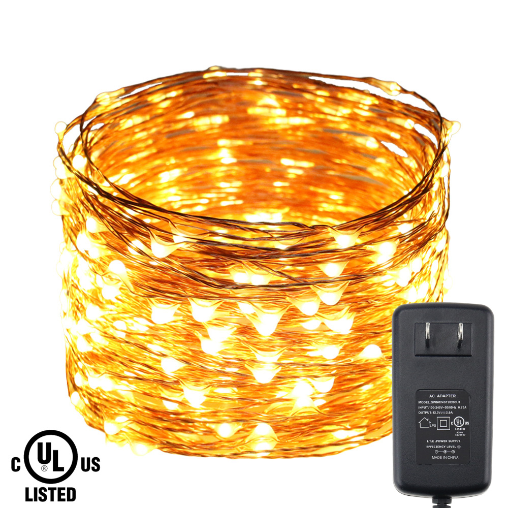 30M/98FT 300LEDs Copper Wire Warm White Green LED String Lights Starry Lights Christmas Fairy Lights+UL CE Certification Adapter