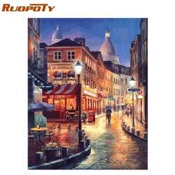 RUOPOTY ramka nowoczesne miasto DIY obraz olejny przez numer krajobraz kaligrafia malarstwo akrylowe farby na płótnie do wystroju domu 40x50|Malarstwo i kaligrafia|Dom i ogród -