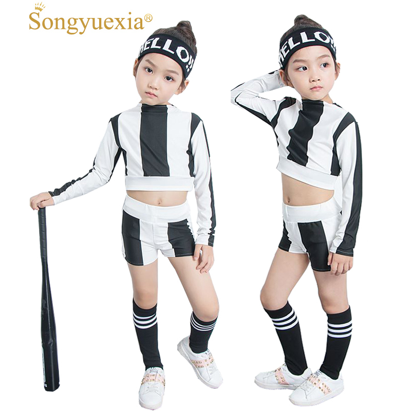 Songyuexia New Pattern Children Long Sleeve Modern Jazz Hip Hop Stage dancewear stripe Cheerleading dance Costumes for Kid
