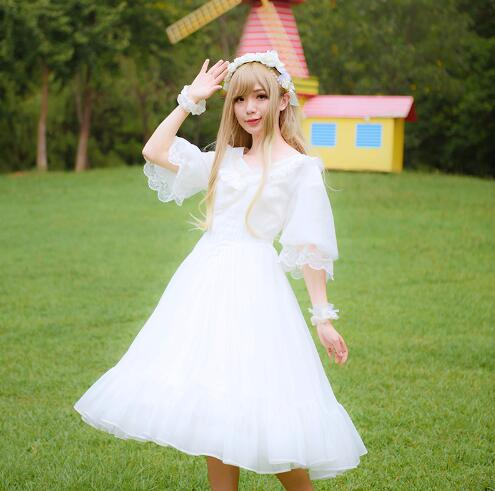 e63745a150 2016 New Classic Lolita Dress Sweet V Neck Embroidered Half Sleeve Chiffon  Dress for Women Black White-in Lolita Dresses from Novelty   Special Use on  ...