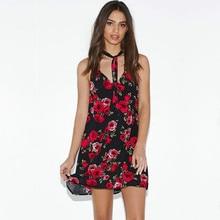 2017 Summer Fashion New Women's Casual Sleeveless Flower Print Dress / Woman'sspaghetti Strap Harness Floral Dresses