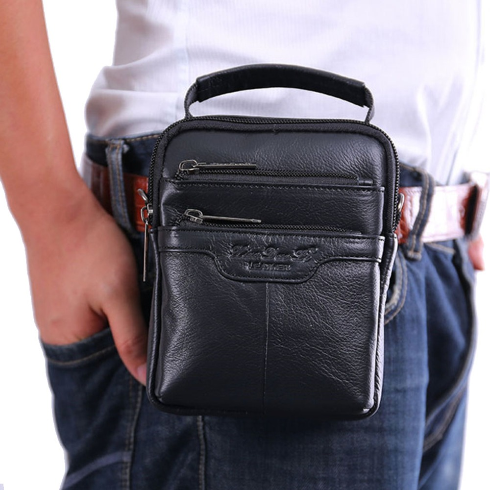 Men's Genuine Leather Cowhide Messenger Shoulder Cross Body Bag Pouch Waist Fanny Belt Hip Bum Male Tote Multipurpose HandBag teemzone men s genuine leather shoulder messenger cross body satchel day fanny zipper waist pack handbag bag wallet s4001
