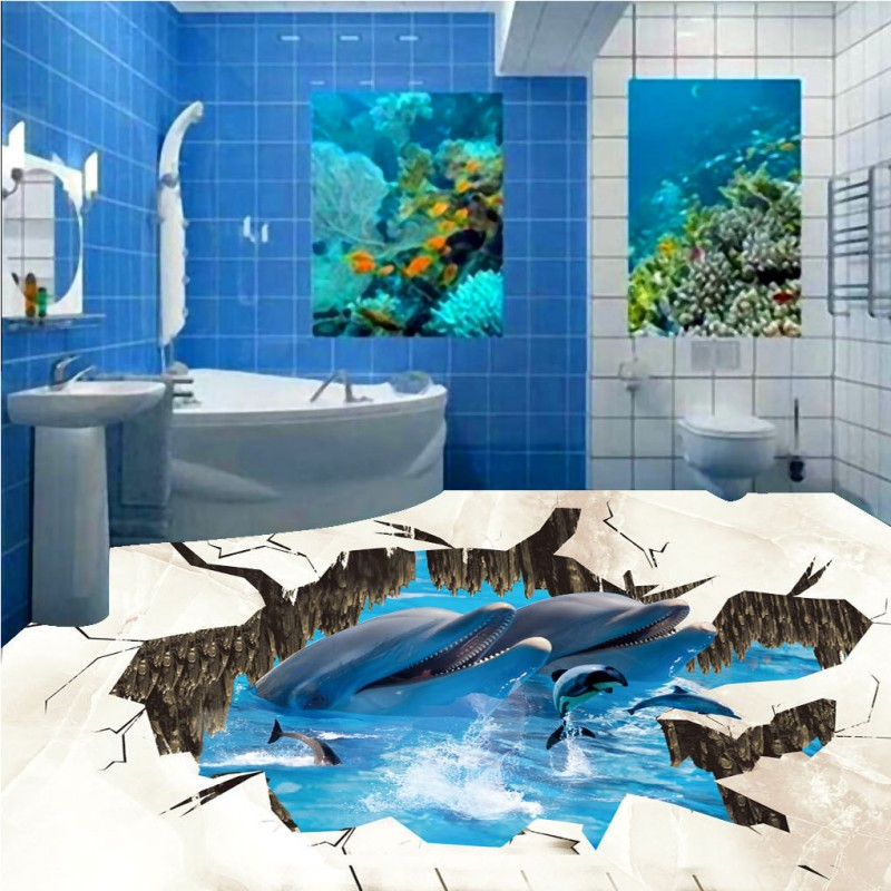 ФОТО Free Shipping 3D dolphin thickened PVC floor painting bedroom flooring living room study lobby wallpaper mural