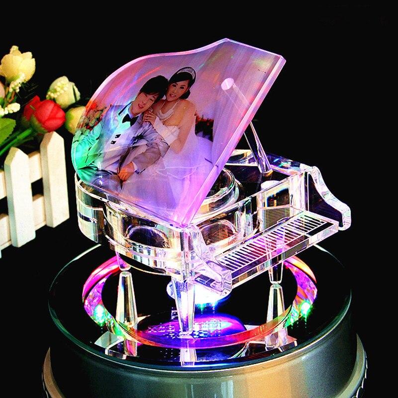 Cristal piano mode cristal verre Led éclairage base montrer jolie belle lampe rotation base support affichage