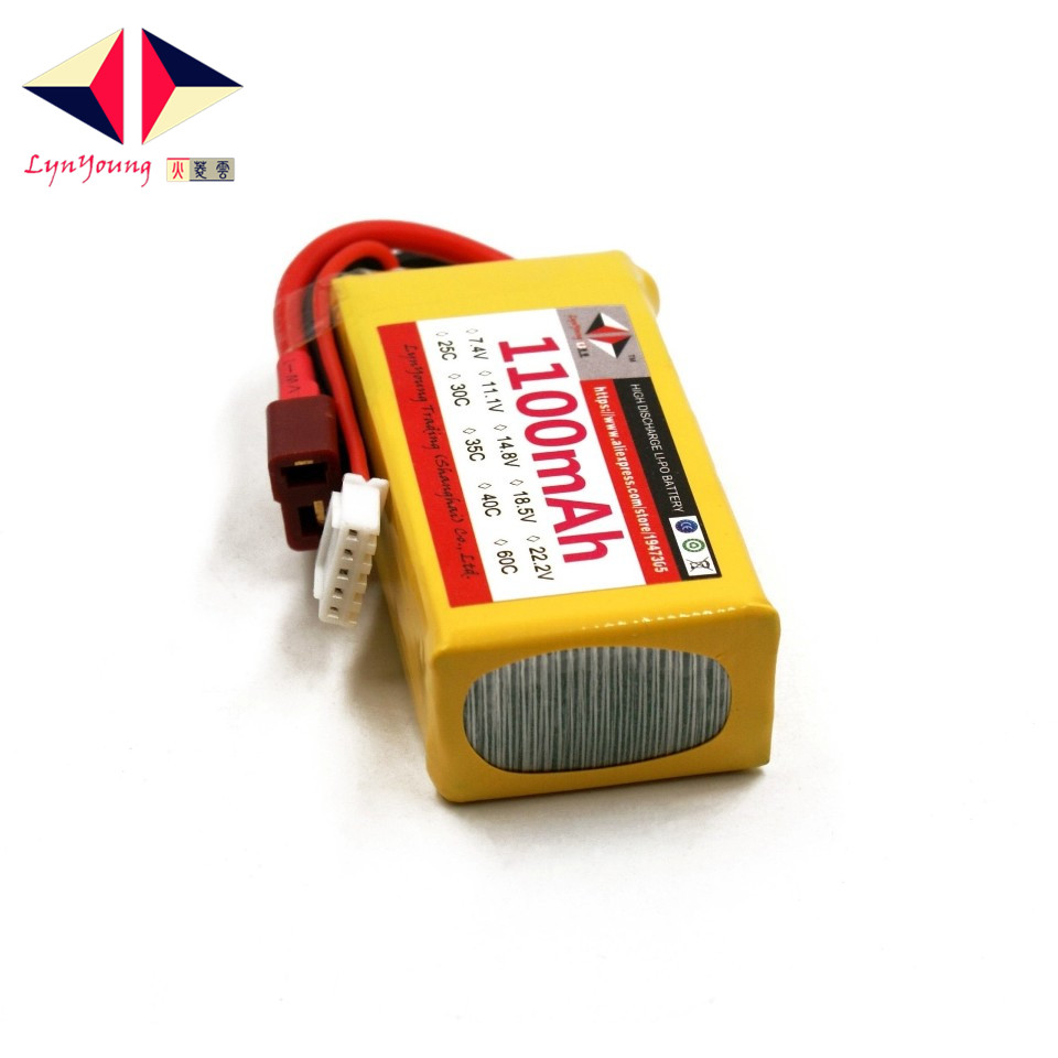 1100mAh 14.8v 4S 40C lipo battery for RC Helicopter Drone Quadcopter Glider 6 Axis Airplane Truck LYNYOUNG