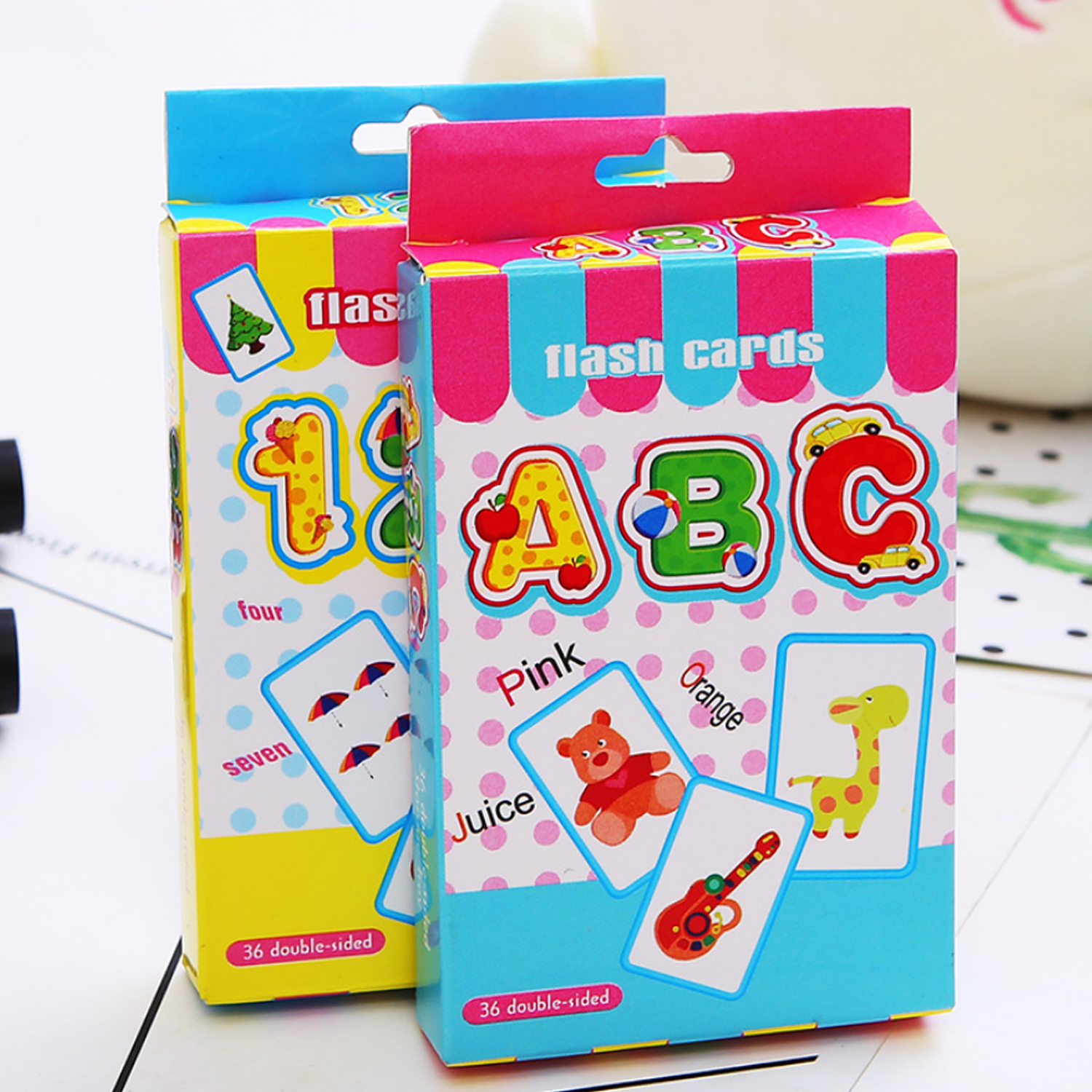 36PCS Letter Cards + 36PCS Number Flash Cards Cognition Puzzle Early Education Learning Toys For Toddler Kids Children Gifts