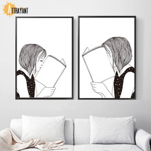 Read The Book Girl Wall Art Canvas Painting Nordic Posters And Prints Black White Pictures For Living Room Bedroom Decor