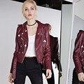 Leather Bomber Jacket Coat Women European Badge Short Slim Leather Coat Autumn Wine Red/Black/White/Pink Leather Jacket 2016