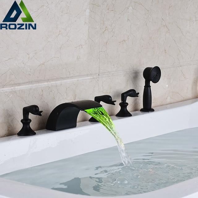 Deck Montiert Farbwechsel LED Wasserfall Badewanne Wasserhahn Verbreitet 5  Löcher Badezimmer Wanne Hahn