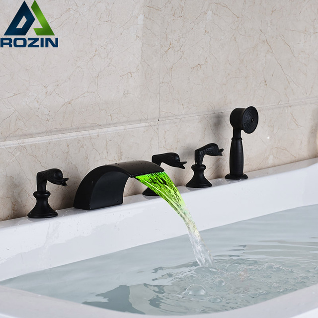 Deck Mounted Color Changing LED Waterfall Bathtub Faucet Widespread 5 Holes  Bathroom Tub Filler With Handshower