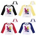 Nova Primavera Outono crianças meninas roupa Dos Miúdos Meninas Longas Camisas de Manga t camisa Trolls 2-8Years crianças meninos PARTES SUPERIORES das meninas roupas
