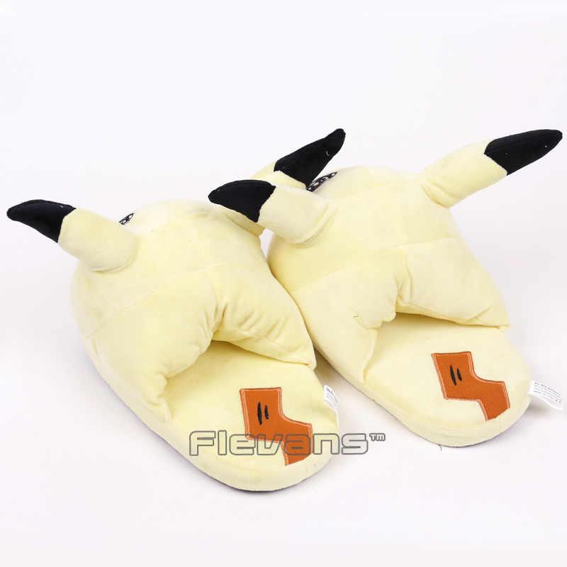 Тапочки в виде персонажа аниме Mimikyu плюшевые зимние комнатные тапочки теплая обувь Мягкая игрушка, кукла-27 см