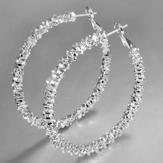 New Design Fashion Charm Austrian crystal hoop earrings Geometric Round Shiny rhinestone big earring jewelry women