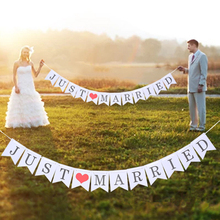 Wedding Event Decoration Car Vintage White Just Married Banner Garland Rustic Decor Mr and Mrs Party Boda