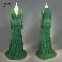 Emerald Lace Evening Dresses Full Sleeves With Crystal Beaded Aso Ebi Prom Gowns Peplum 2018 African Evening Gowns Nigeria