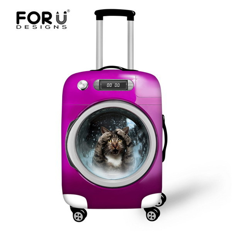 FORUDESIGNS Luggage Protective Case Cute Cat Animal Waterproof Cover For 18 30 Inch Trolley Suitcase Elastic