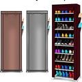 9 de zapato estantes zapatos de lona taburete, armario de almacenamiento Rack carril organizador de zapatos cremallera permanente Sapateira órgano 3 colores de
