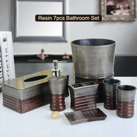 New Resin Bathroom Set Seven pieces Bathroom Accessories Set Toothbrush holder Bathroom Tumblers Soap Dispenser Supplies