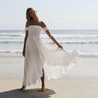 KIYUMI Dress Women Cotton Elastic Summer Dress Off Shoulder Sexy 2019 Elegant Beach Irregular Split Ruffles White Long Dress New