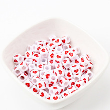 Горячее предложение, белые, красные акриловые бусины в форме сердца для самостоятельного изготовления ювелирных изделий, 6 мм, 7 мм, 50 шт. KL143