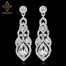 TREAZY Crystal Wedding Long Earrings for Women Silver Champagne Red Blue  Color Fashion Bridal Drop Earrings Wedding Jewelry b9fa6c8af1ab