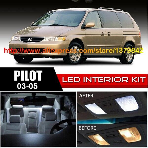 Free Shipping 10Pcs/Lot 12v car-styling Xenon White/Blue Package Kit LED Interior Lights For 03-05 Honda Pilot