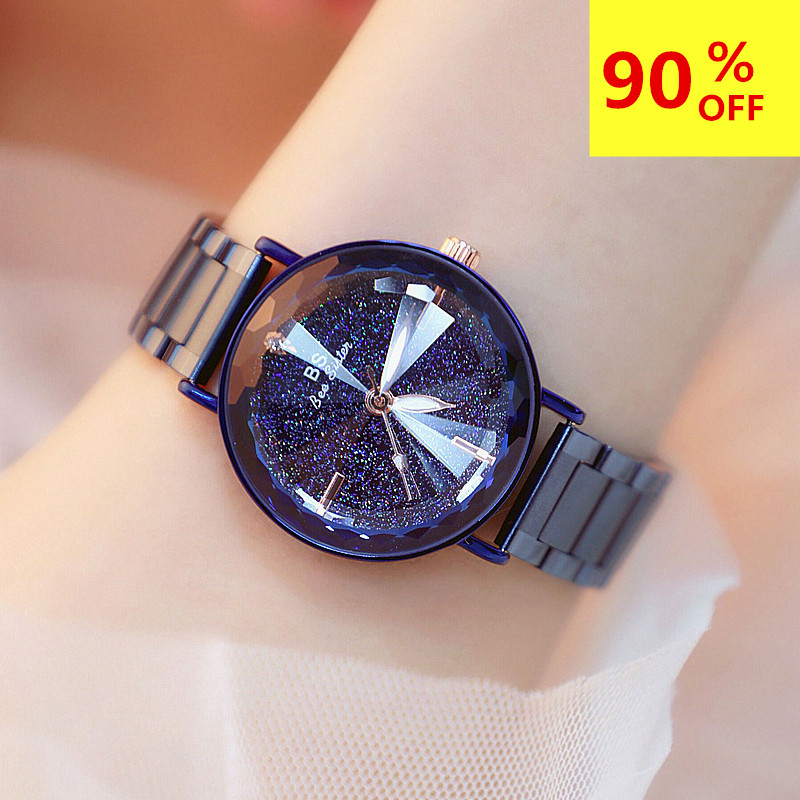 Starry sky dial Crystal Watch Women Waterproof Stainless Steel Quartz Watch Roman Scale Multi Cutting Surface Mirror Women Watch(China)
